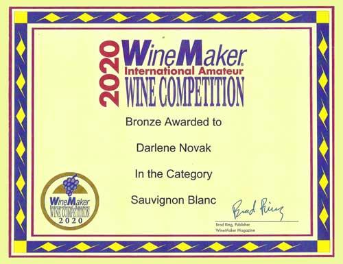 Wine Maker Awards 2020 - Sauvignon Blanc - Bronze - Darlene Novak