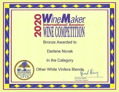 Wine Maker Awards 2020 - White Vinfera Blends - Bronze - DarleneNovak